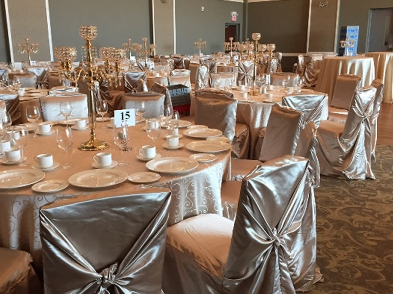 chair covers and candelabras