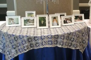 receive table silver crochet overlay