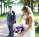 bride and groom wedding florals