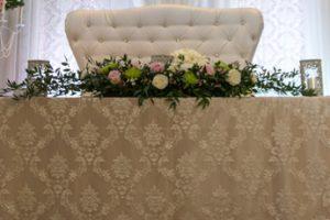 vintage lace head table love seat